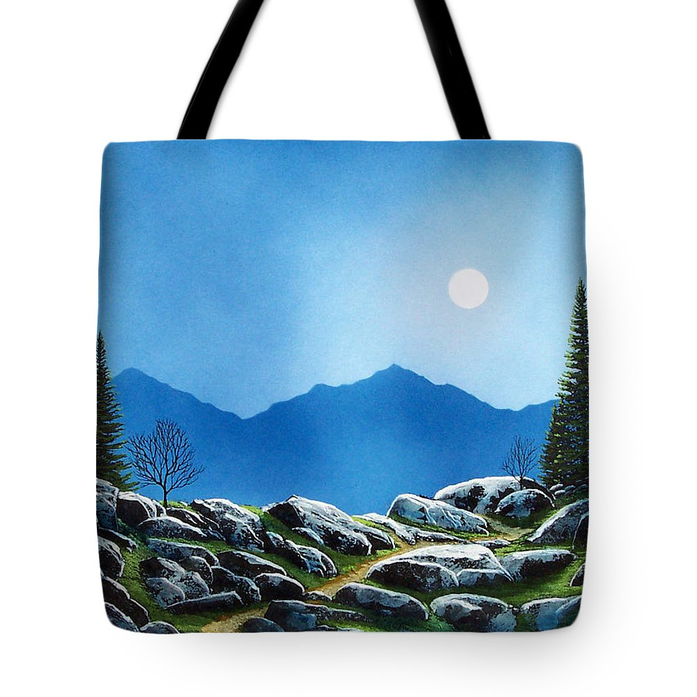 Landscape Tote Bag featuring the painting Moonlight Hike by Frank Wilson