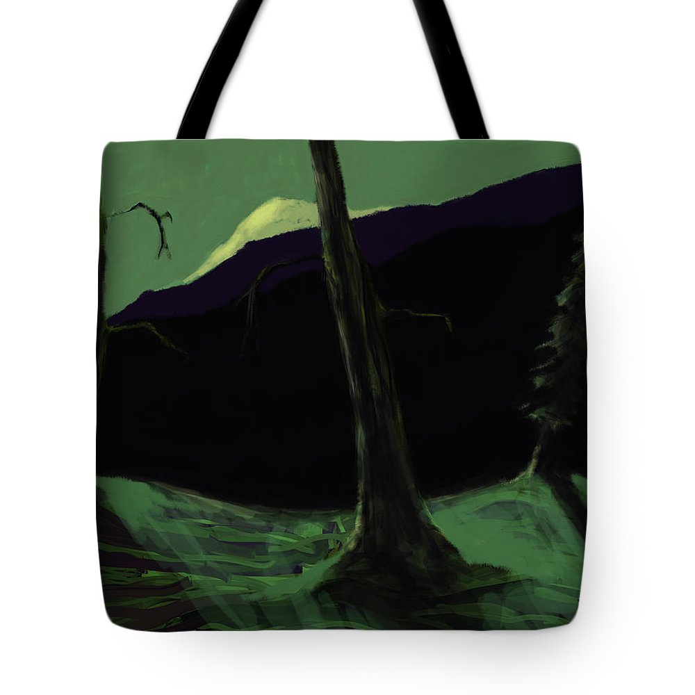 Landscape Tote Bag featuring the digital art Moonlight In The Rockies by Jim Vance