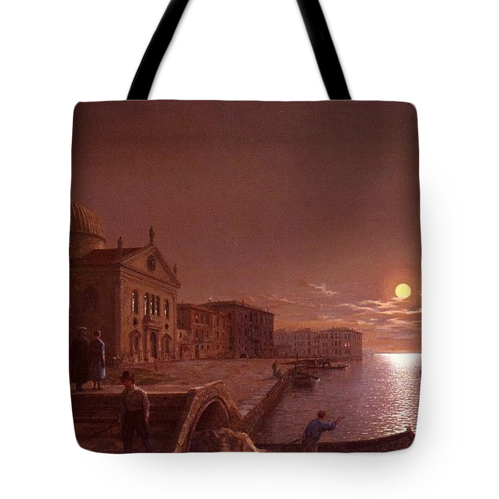 Palace Tote Bag featuring the digital art Moonlight In Venice Henry Pether by Eloisa Mannion