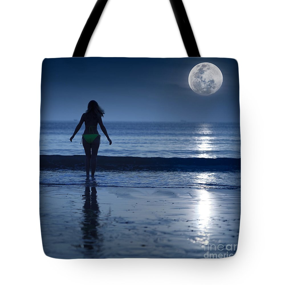 Moon Tote Bag featuring the photograph Moonlight by MotHaiBaPhoto Prints