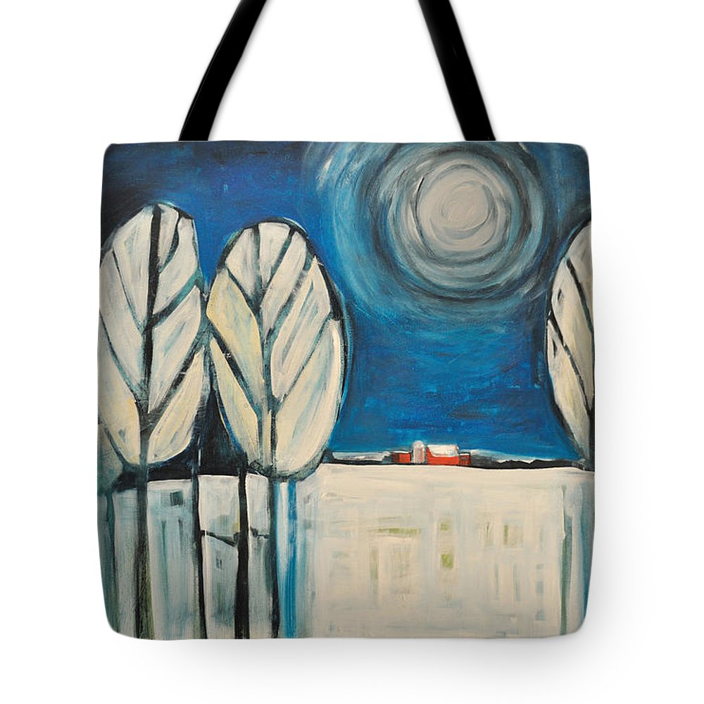 Landscape Tote Bag featuring the painting Moonlight On The First Snow by Tim Nyberg
