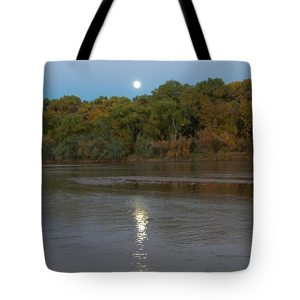 Moonlight Tote Bag featuring the photograph Moonlight On The Rio Grande by Tim McCarthy