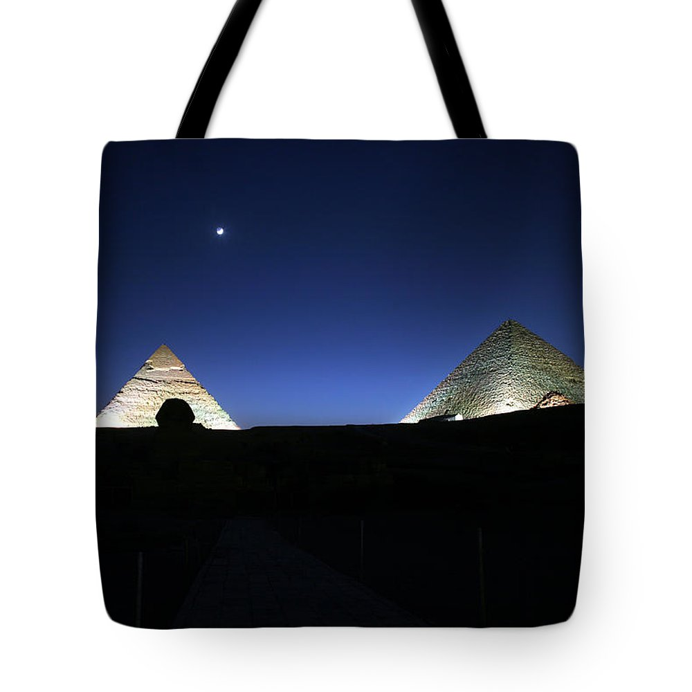 Moonlight Tote Bag featuring the photograph Moonlight Over 3 Pyramids by Donna Corless