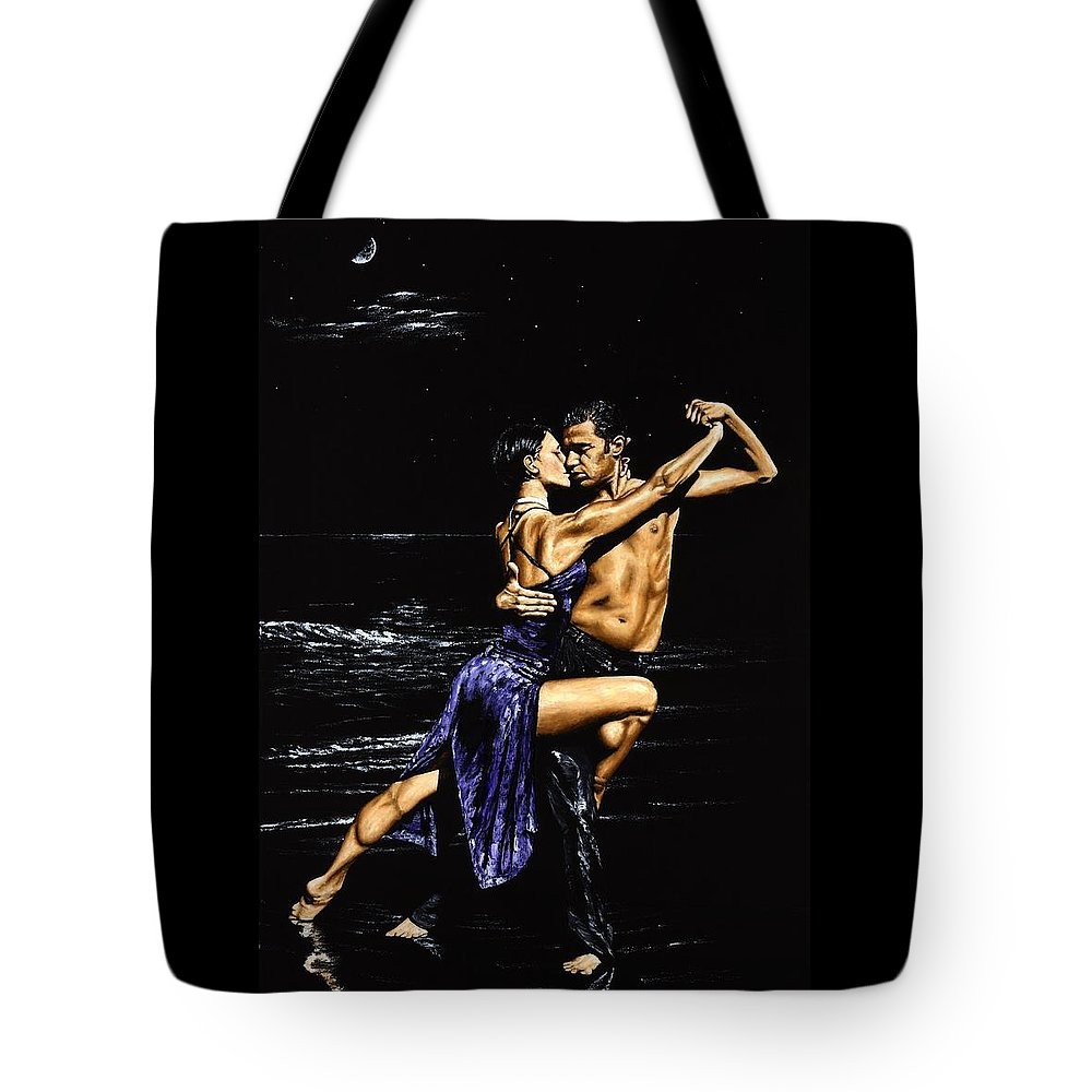 Moonlight Tote Bag featuring the painting Moonlight Tango by Richard Young