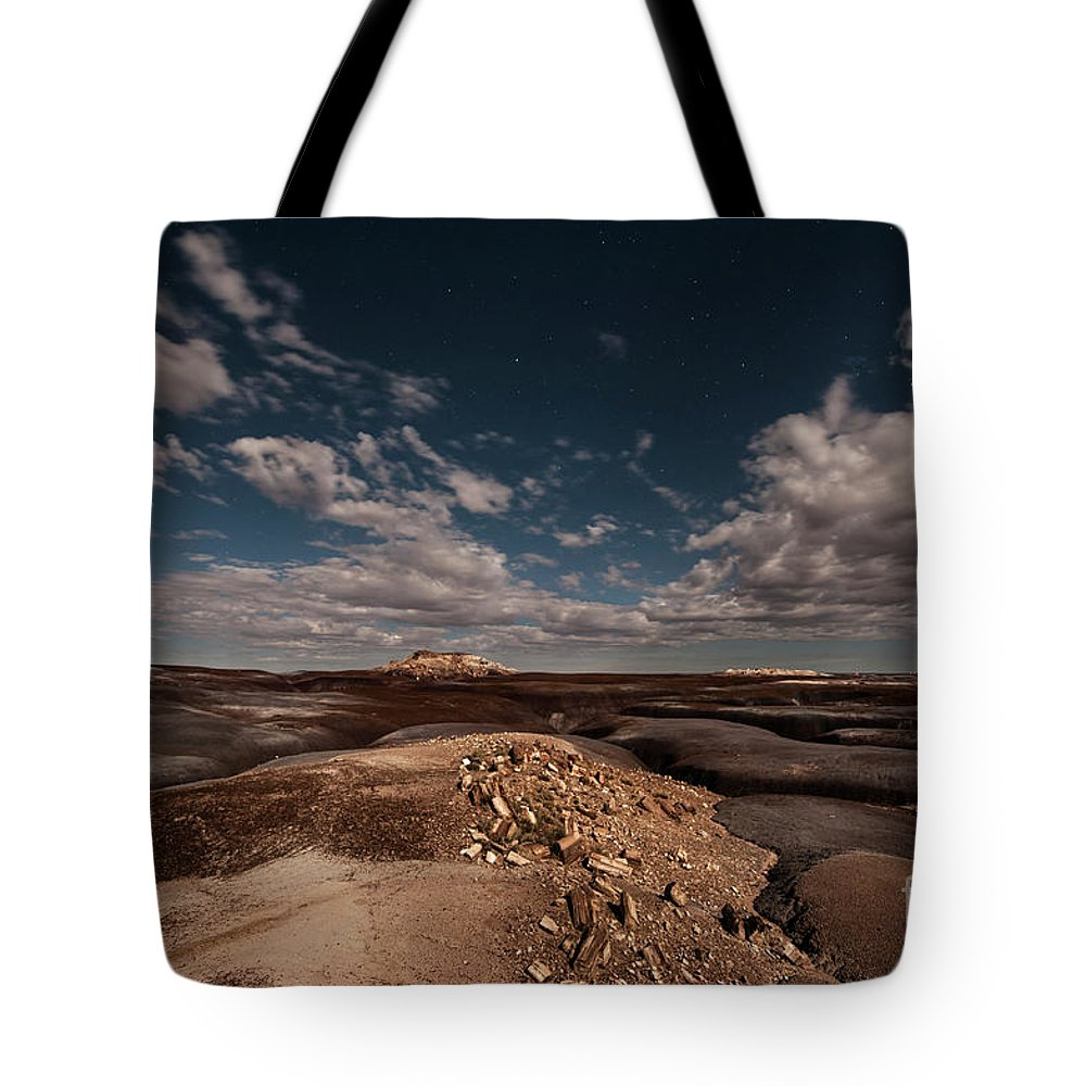 Night Sky Tote Bag featuring the photograph Moonlit Badlands by Melany Sarafis