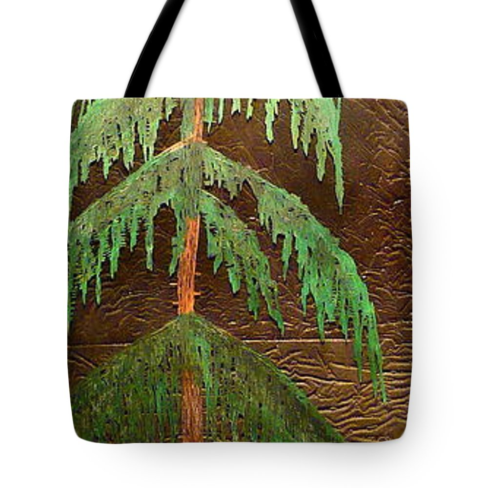 Moonlight Tote Bag featuring the painting Moonlit Cedar by Rick Silas