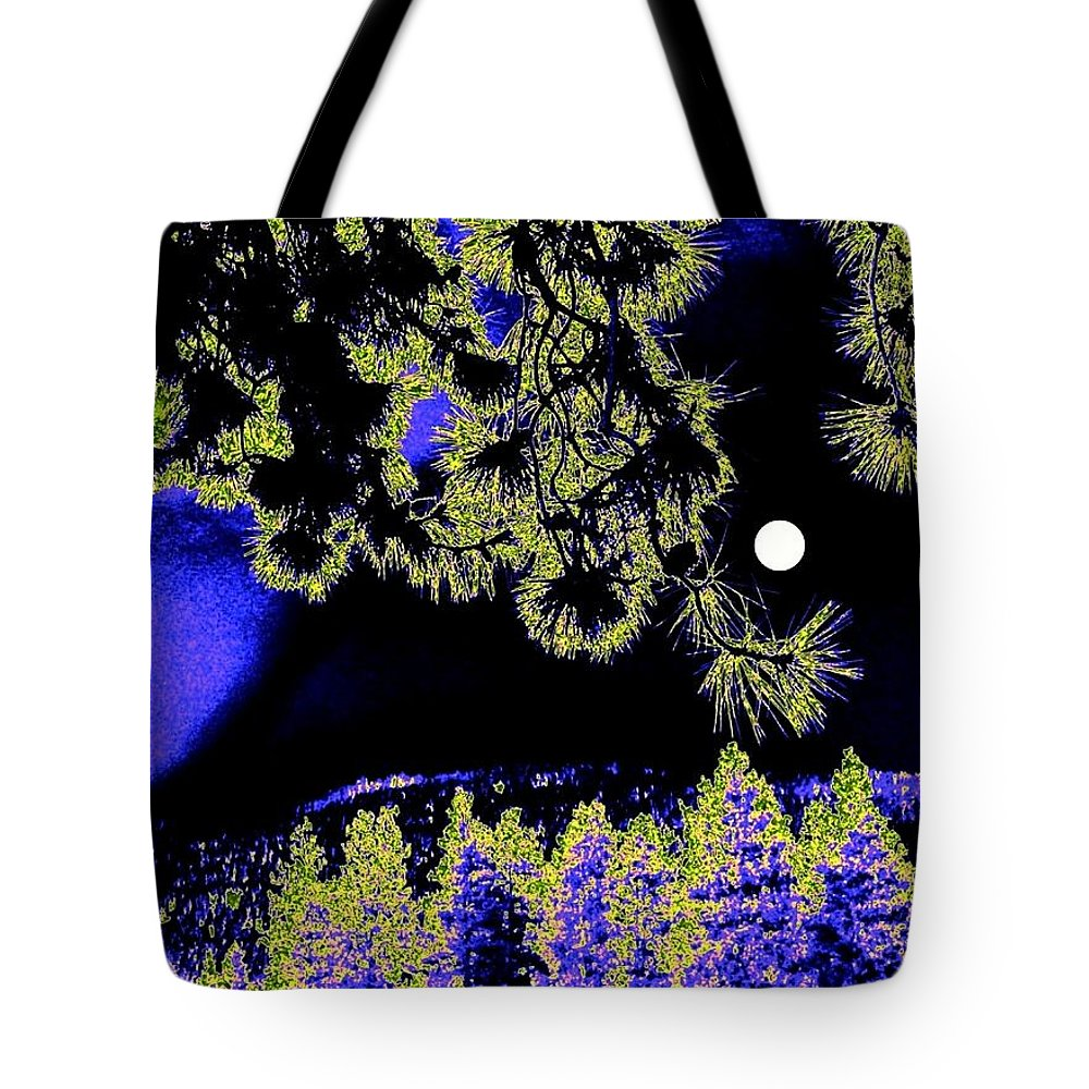Abstract Tote Bag featuring the digital art Moonlit High Country by Will Borden