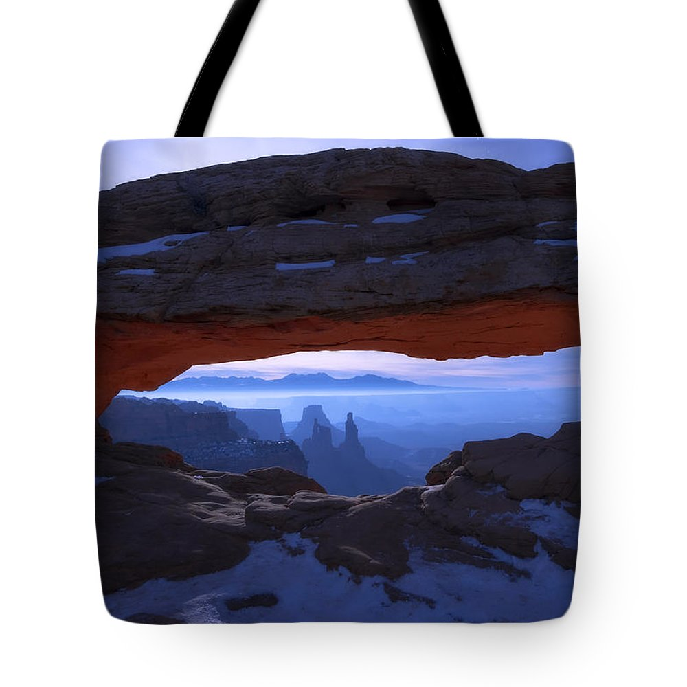 Moonlit Mesa Tote Bag featuring the photograph Moonlit Mesa by Chad Dutson