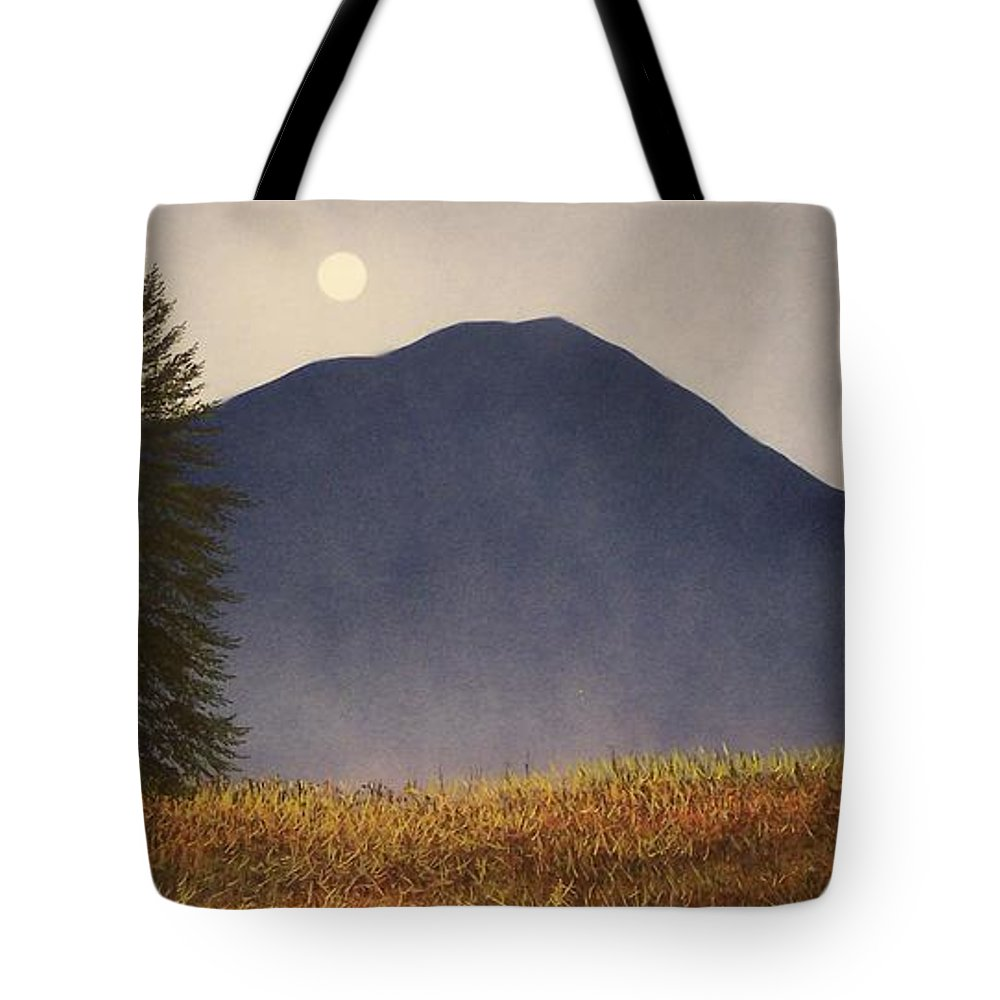 Mountains Tote Bag featuring the painting Moonlit Mountain Meadow by Frank Wilson