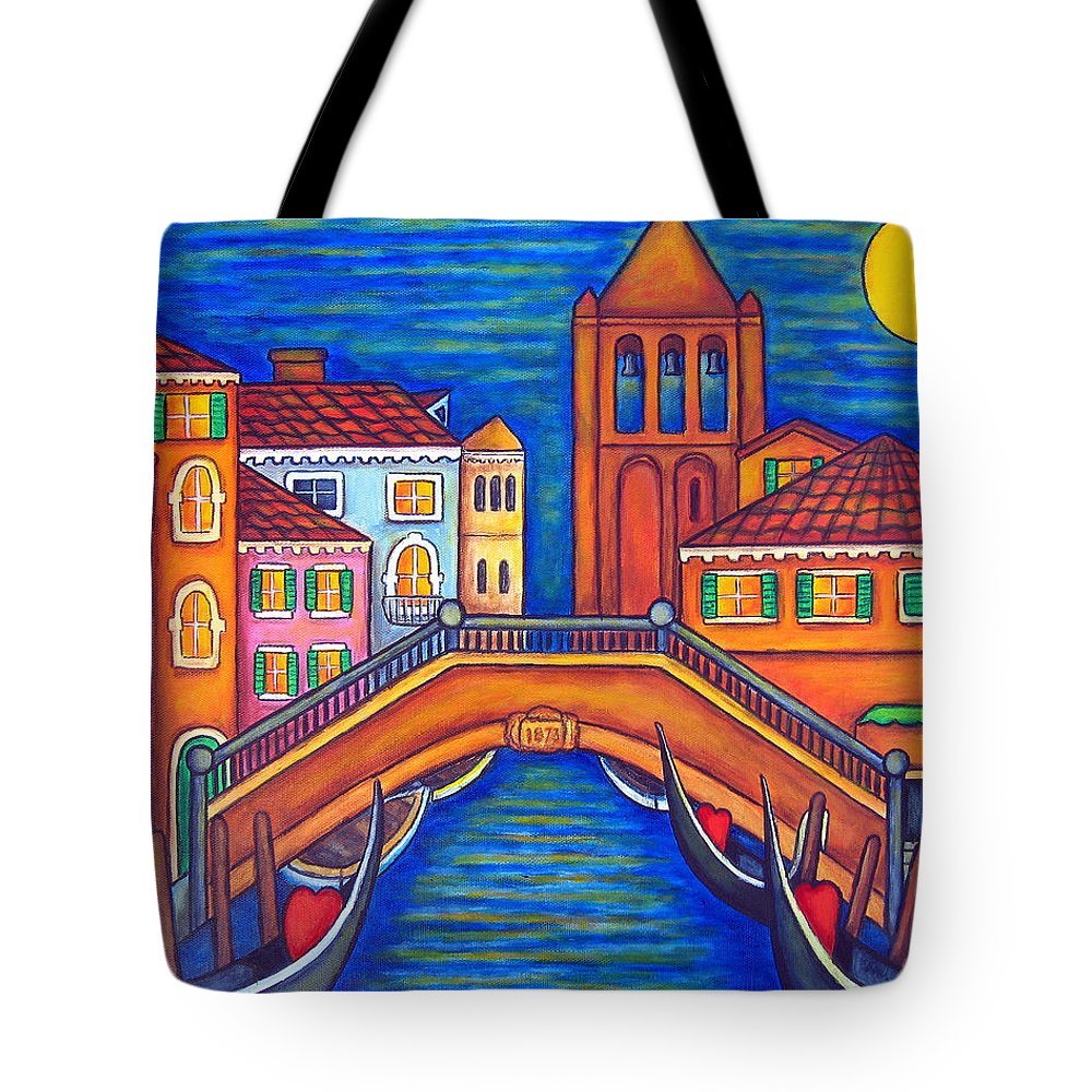 Moonlit Tote Bag featuring the painting Moonlit San Barnaba by Lisa Lorenz