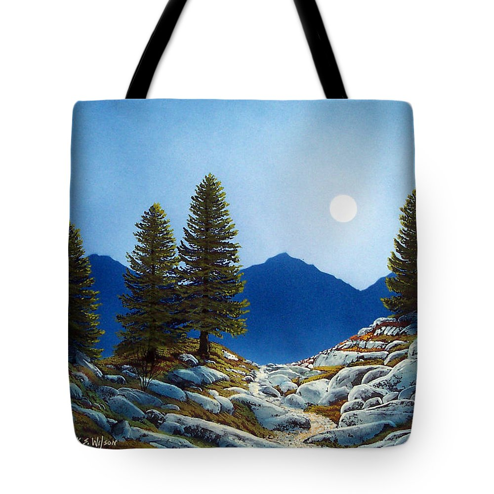 Landscape Tote Bag featuring the painting Moonlit Trail by Frank Wilson