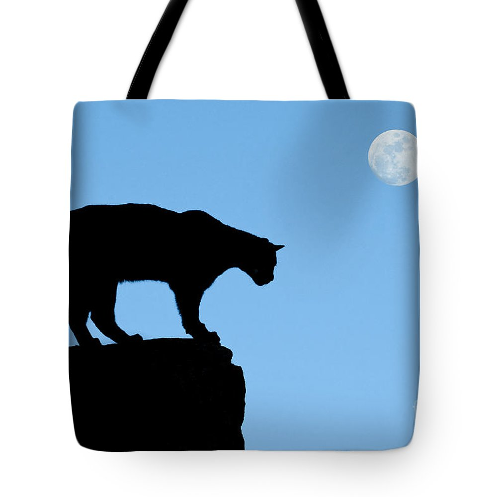Cougar Tote Bag featuring the photograph Moonrise And Cougar by Sandra Bronstein