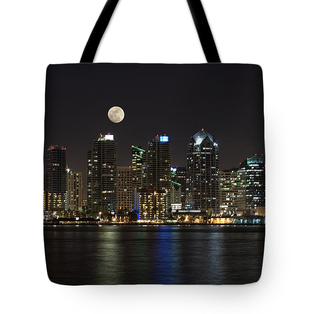 Panorama Tote Bag featuring the photograph Moonrise Over San Diego by Sandra Bronstein