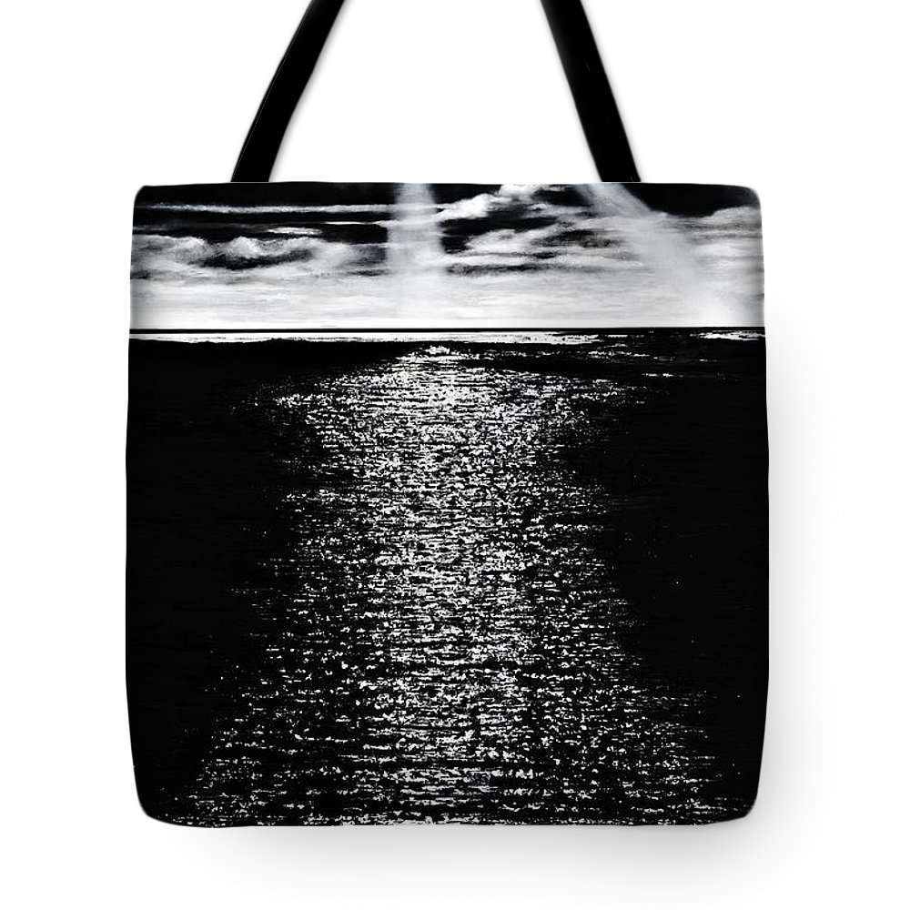 Ocean Tote Bag featuring the painting Moonrise Over The Atlantic by Denise Goldstein