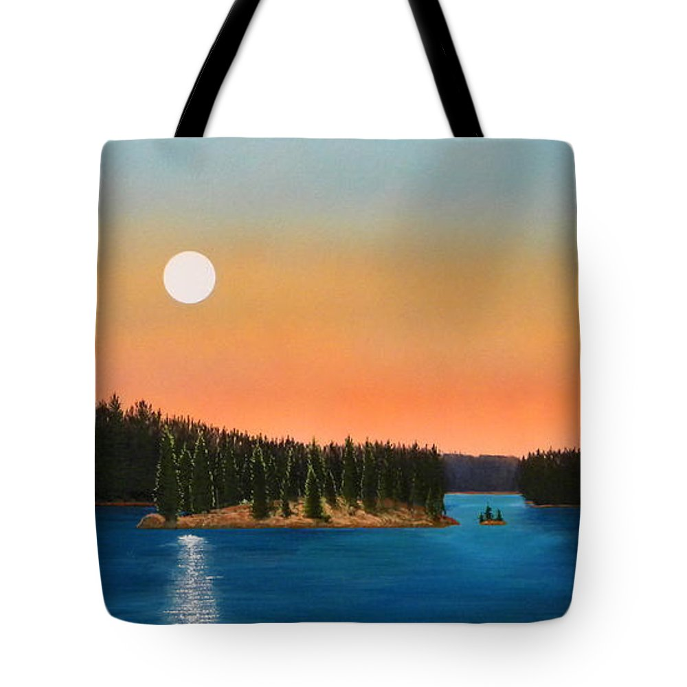 Landscape Tote Bag featuring the painting Moonrise Over The Lake by Frank Wilson
