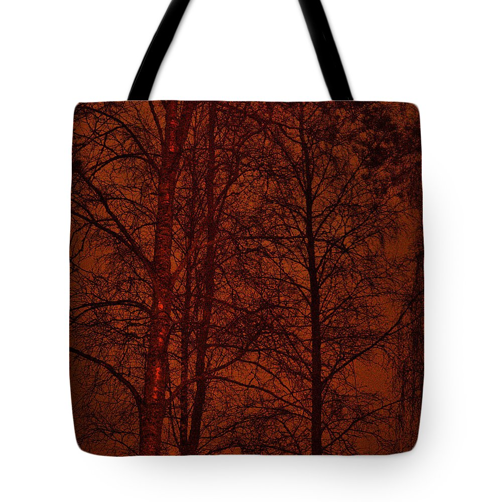 Lehtokukka Tote Bag featuring the photograph Moonshine 11 Red Sky by Jouko Lehto