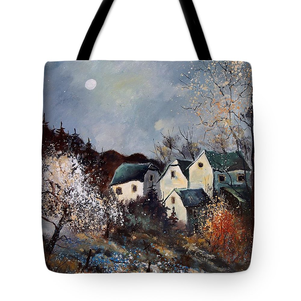 Village Tote Bag featuring the painting Moonshine by Pol Ledent