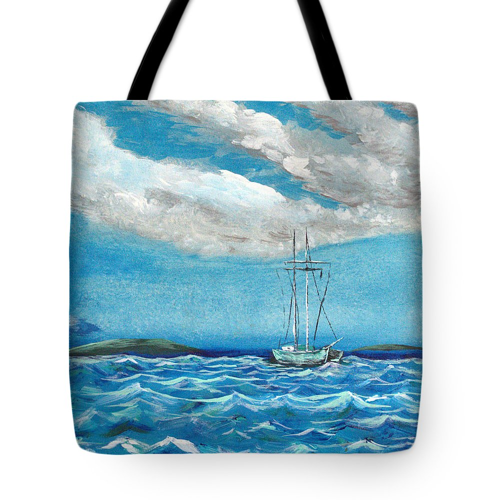 Impressionism Tote Bag featuring the painting Moored In The Bay by J R Seymour