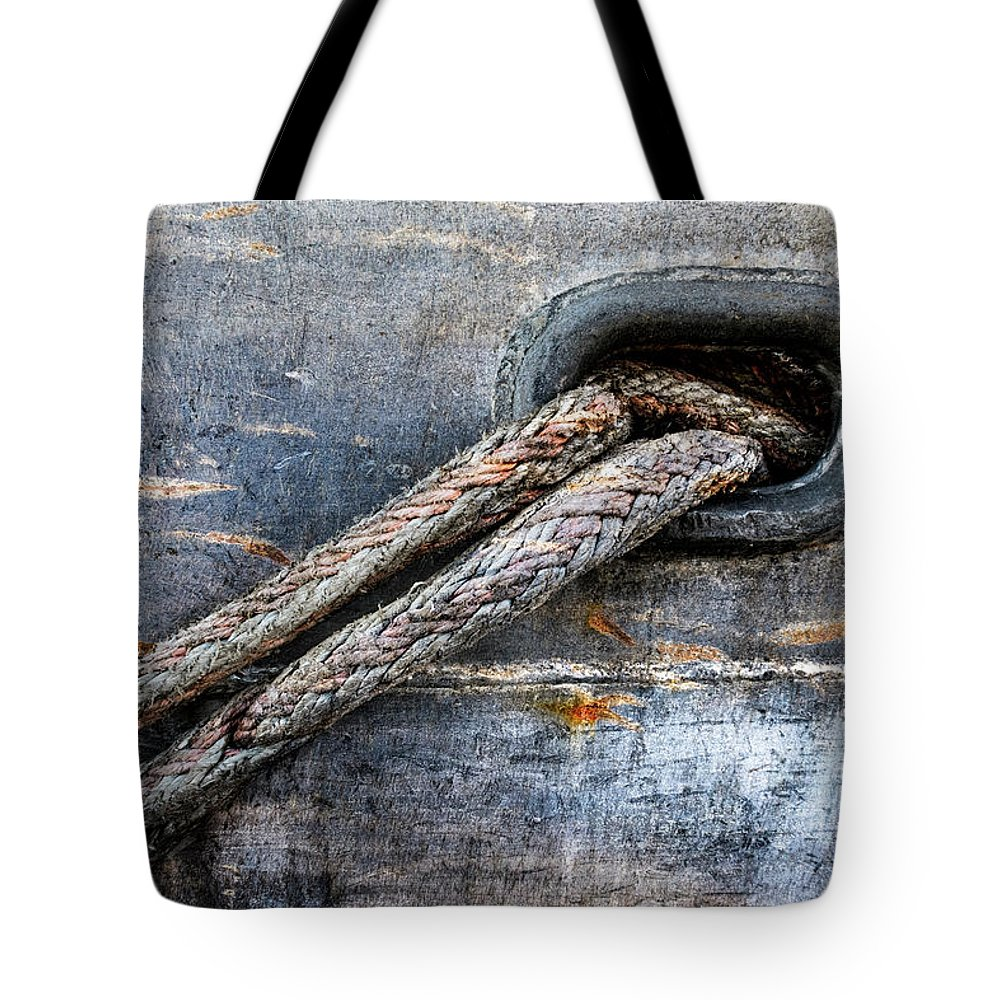 Boat Tote Bag featuring the photograph Mooring Lines In Blue by Carol Leigh