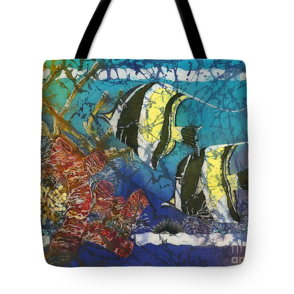 Moorish Idols Tote Bag featuring the painting Moorish Idols by Sue Duda