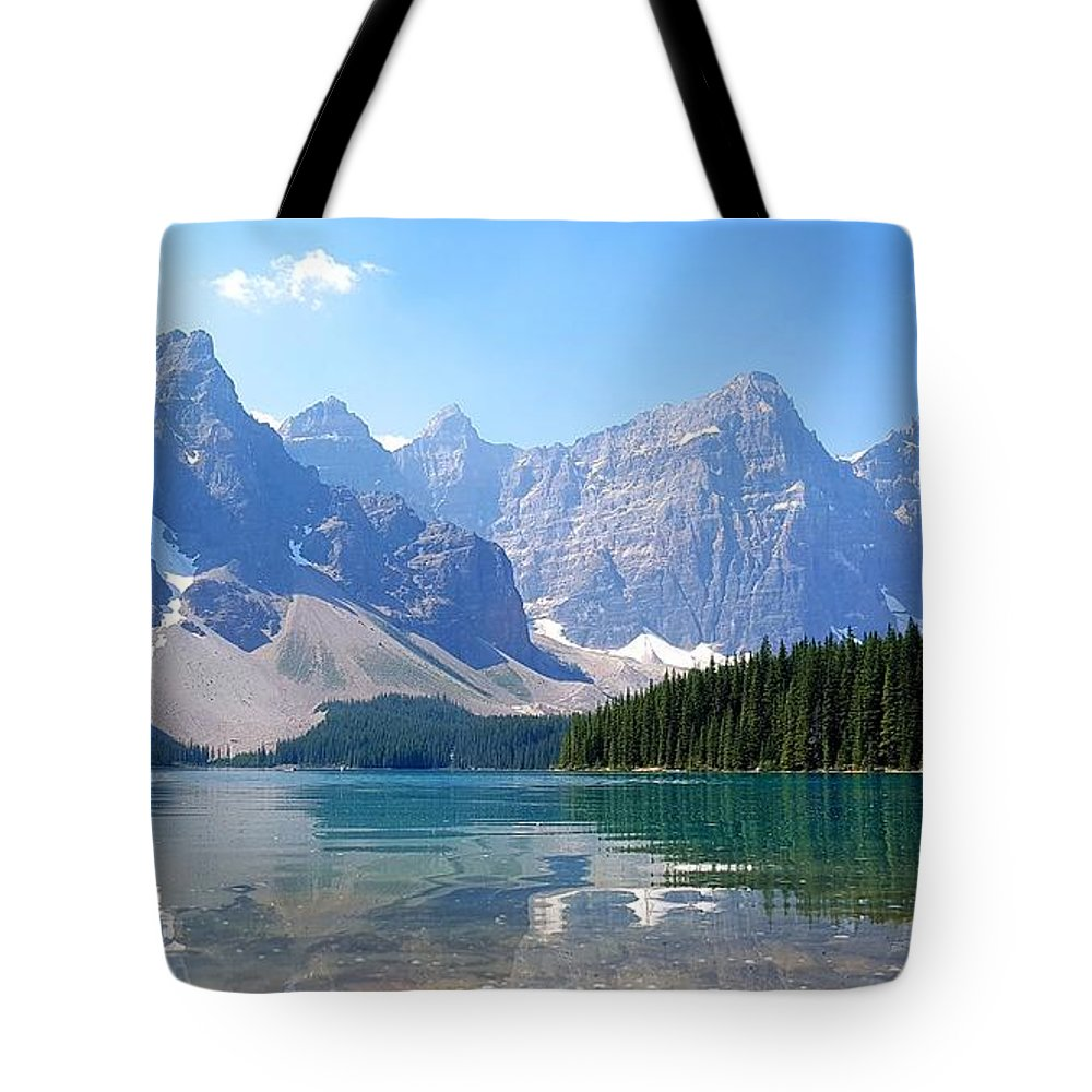 Mountains Tote Bag featuring the photograph Moraine Lake Down Low by Robert Goulet