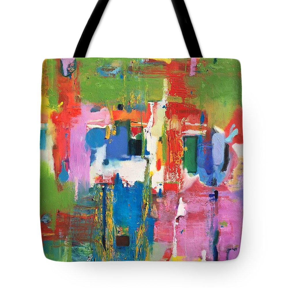 Abstract Tote Bag featuring the painting Morava by Atanas Karpeles
