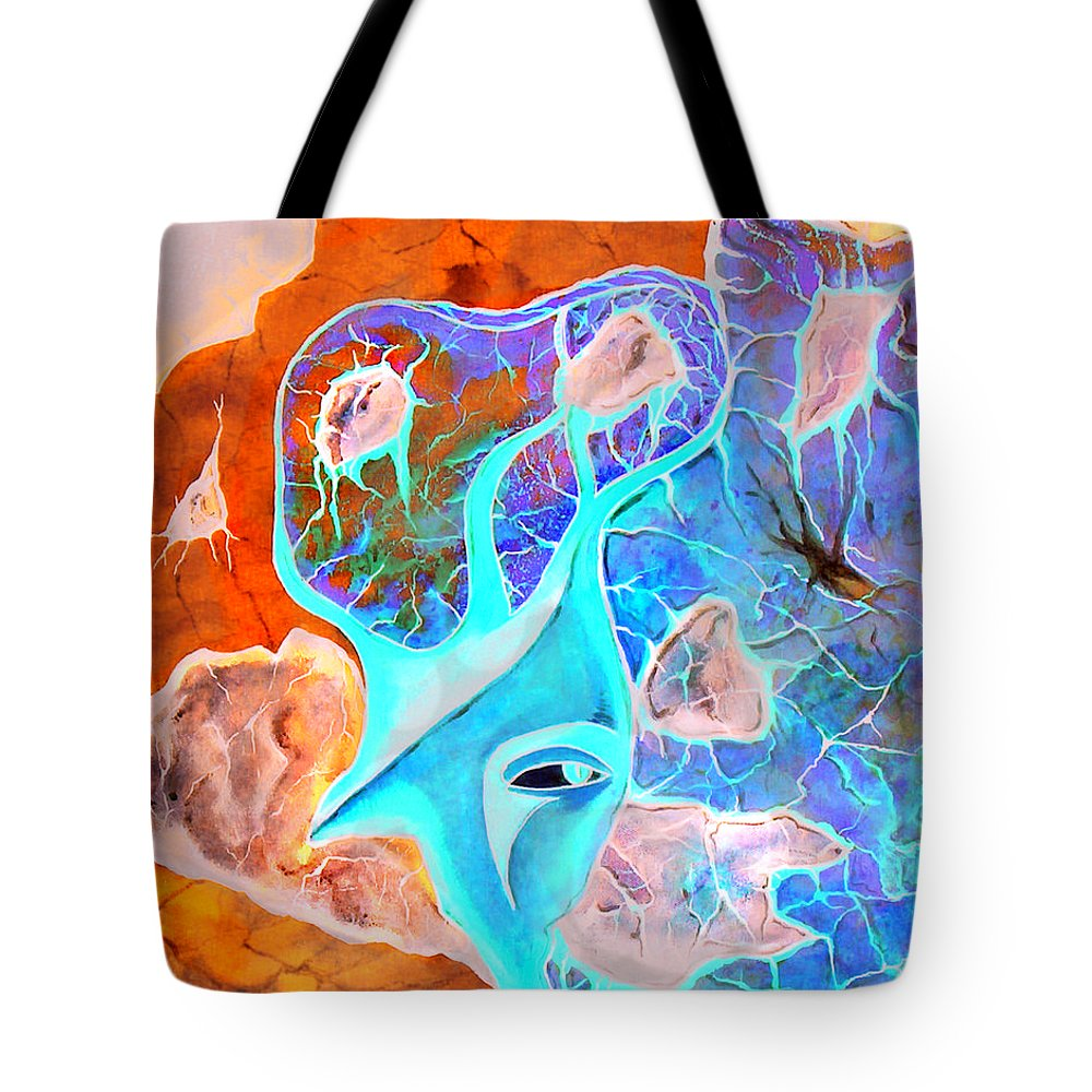 Surrealism Color Sky Haven Stones Tote Bag featuring the painting More Seconds In My Head by Veronica Jackson