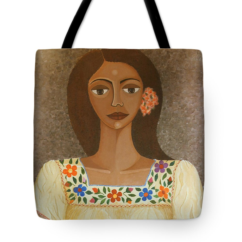 Oil Tote Bag featuring the painting More Than Flowers She Sold Illusions by Madalena Lobao-Tello