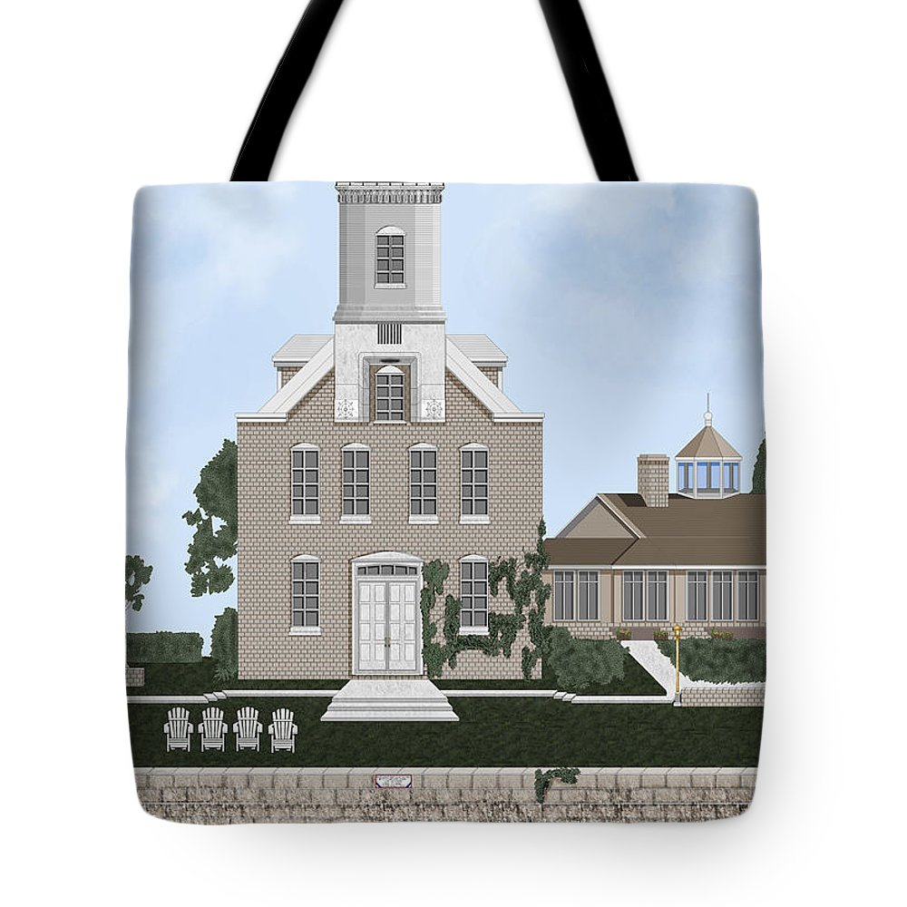 Lighthouse Tote Bag featuring the painting Morgan Point Mystic Harbor Conn by Anne Norskog
