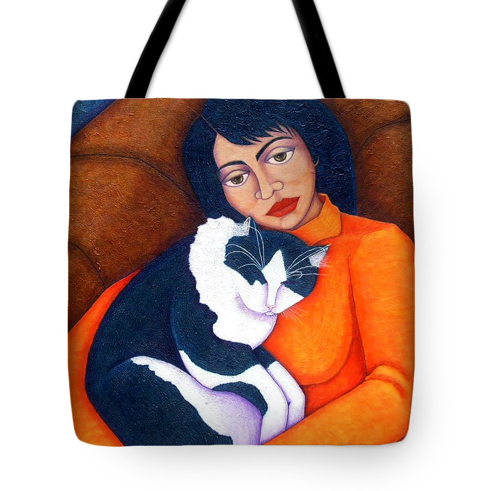 Woman Tote Bag featuring the painting Morgana With Woman by Madalena Lobao-Tello