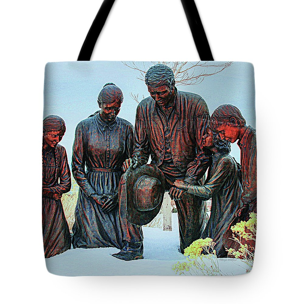 Handcart Tote Bag featuring the photograph Mormon Handcart Family Monument by Margie Wildblood