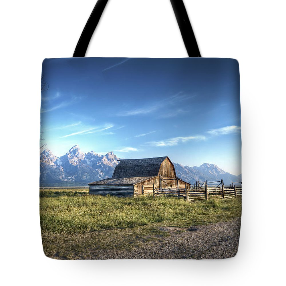 Hdr Mormon Row Barns Grand Tetons Tote Bag featuring the photograph Mormon Row Hdr by Mark Andrews