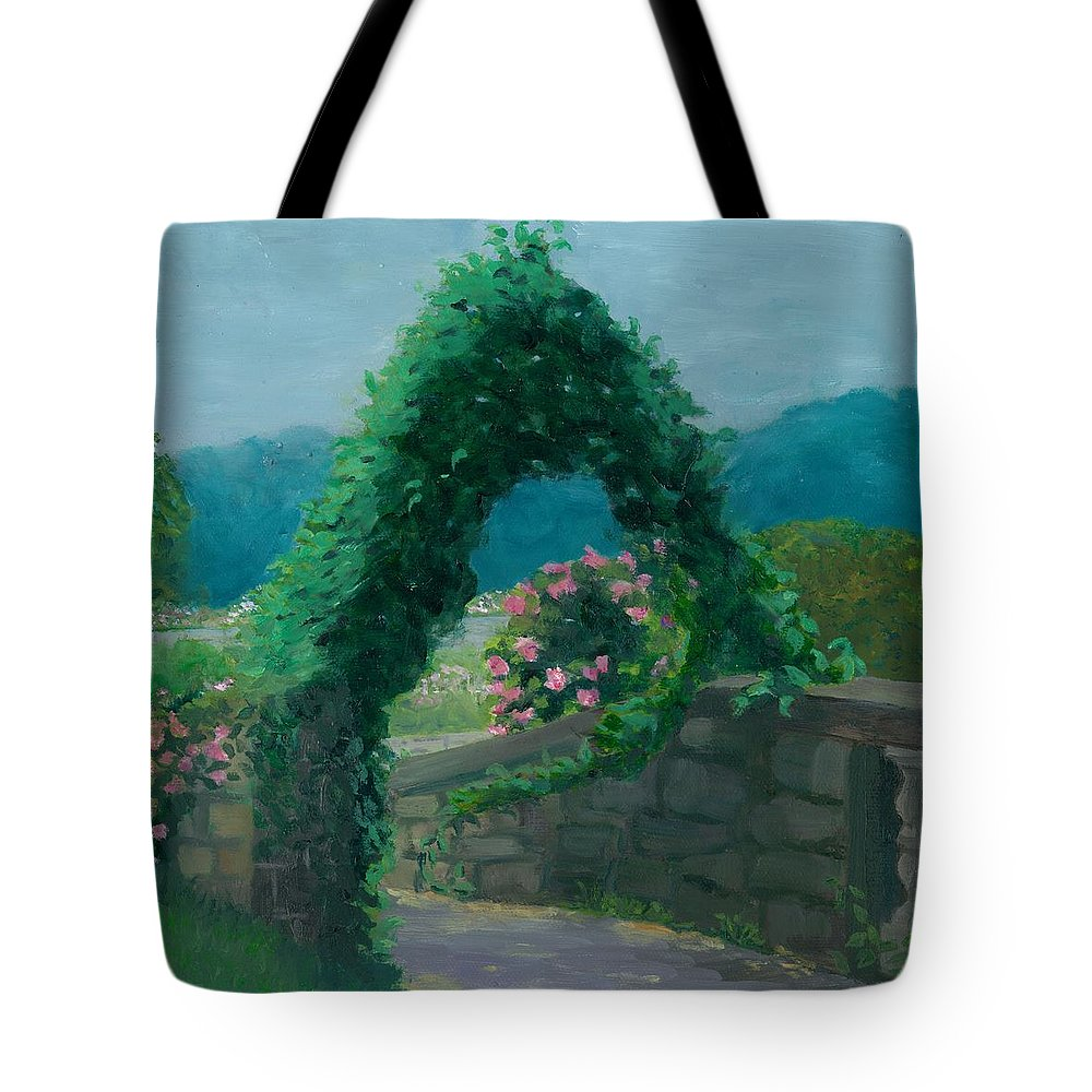 Landscape Tote Bag featuring the painting Morning At Harkness Park by Paula Emery
