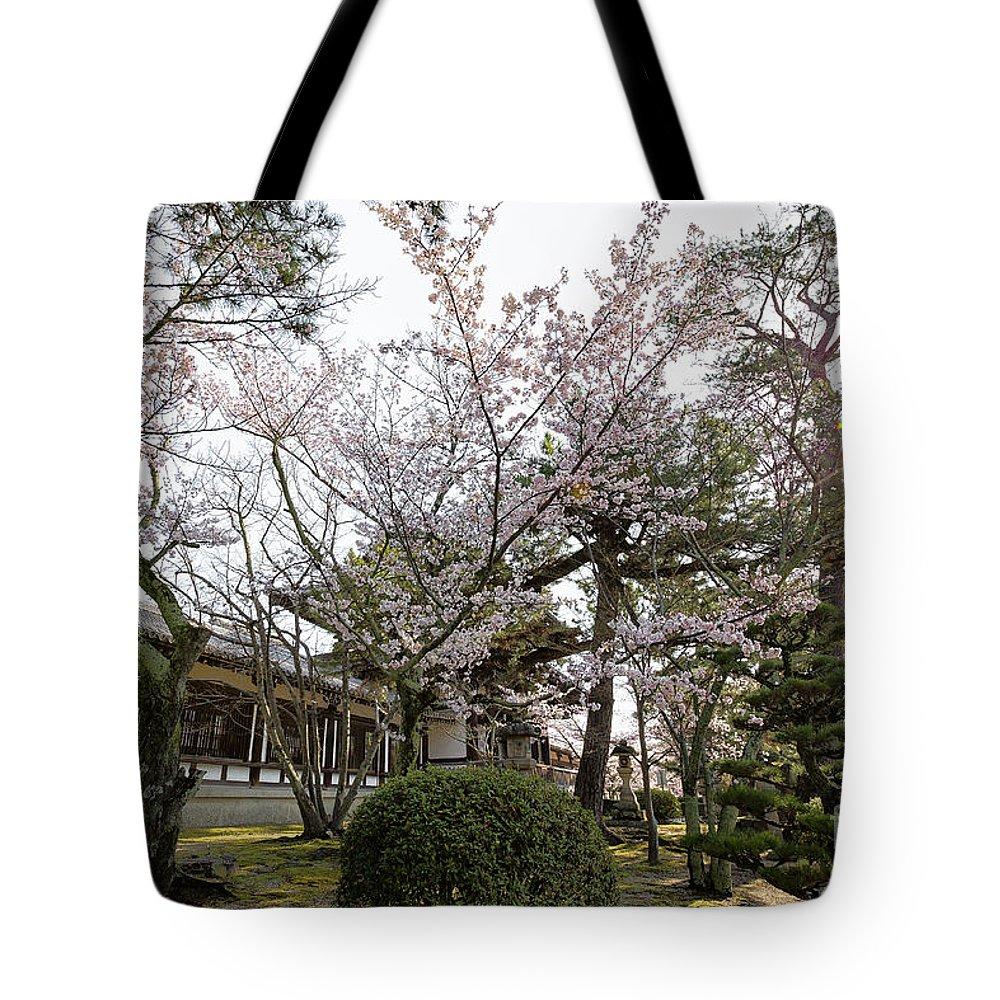 Horyu-ji Temple Tote Bag featuring the photograph Morning At Horyu-ji Temple by Rhonda Krause