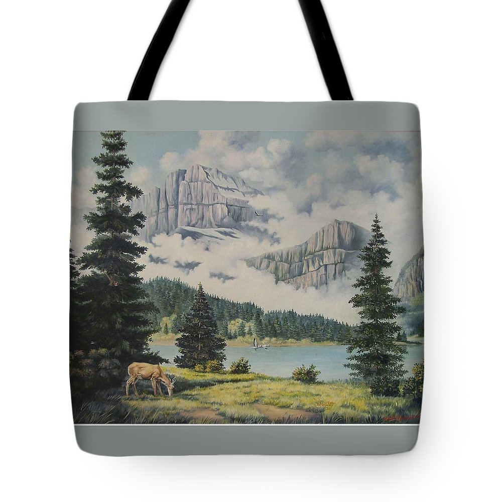 Glacier Nat. Park Tote Bag featuring the painting Morning At The Glacier by Wanda Dansereau