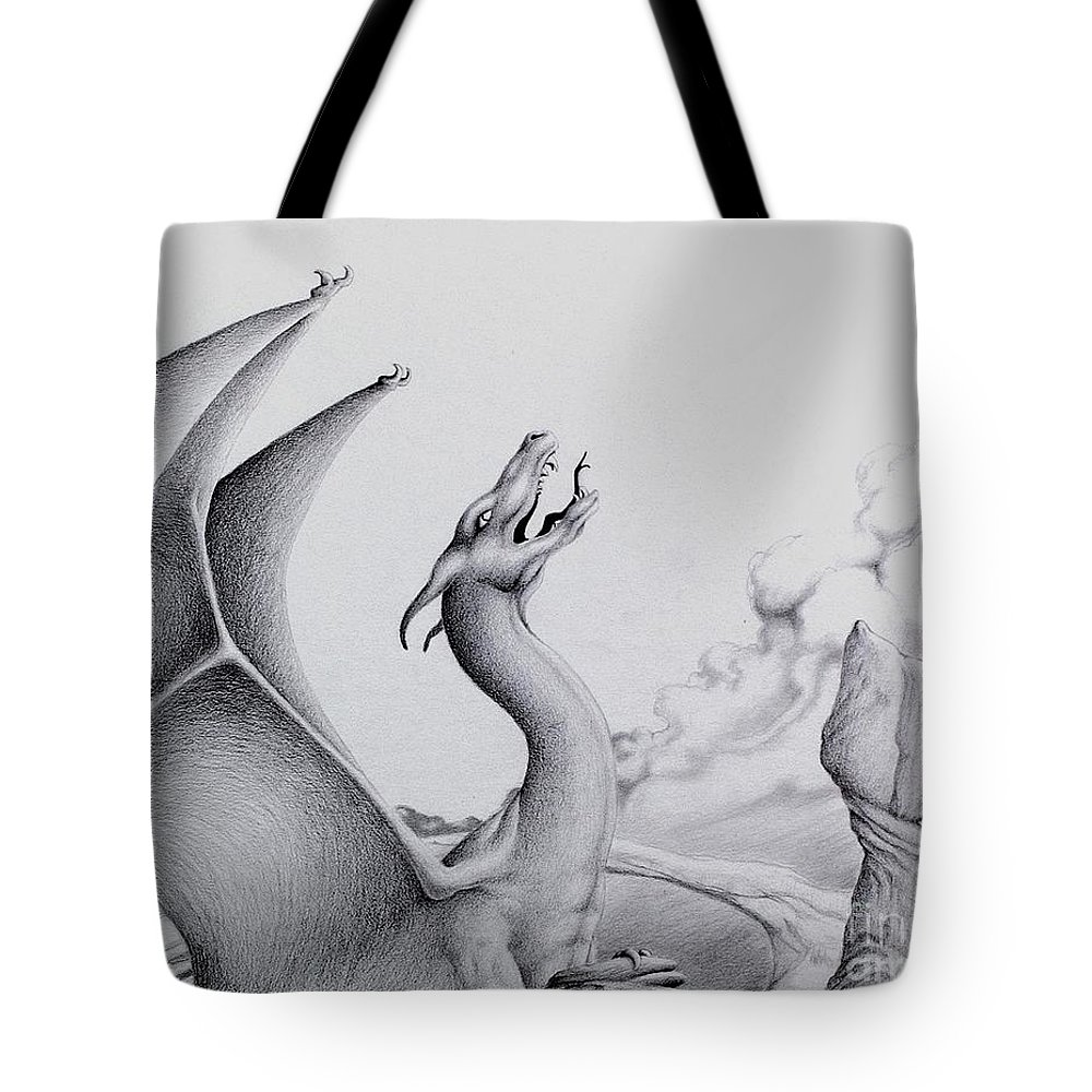 Dragon Tote Bag featuring the digital art Morning Bellow by Robert Ball