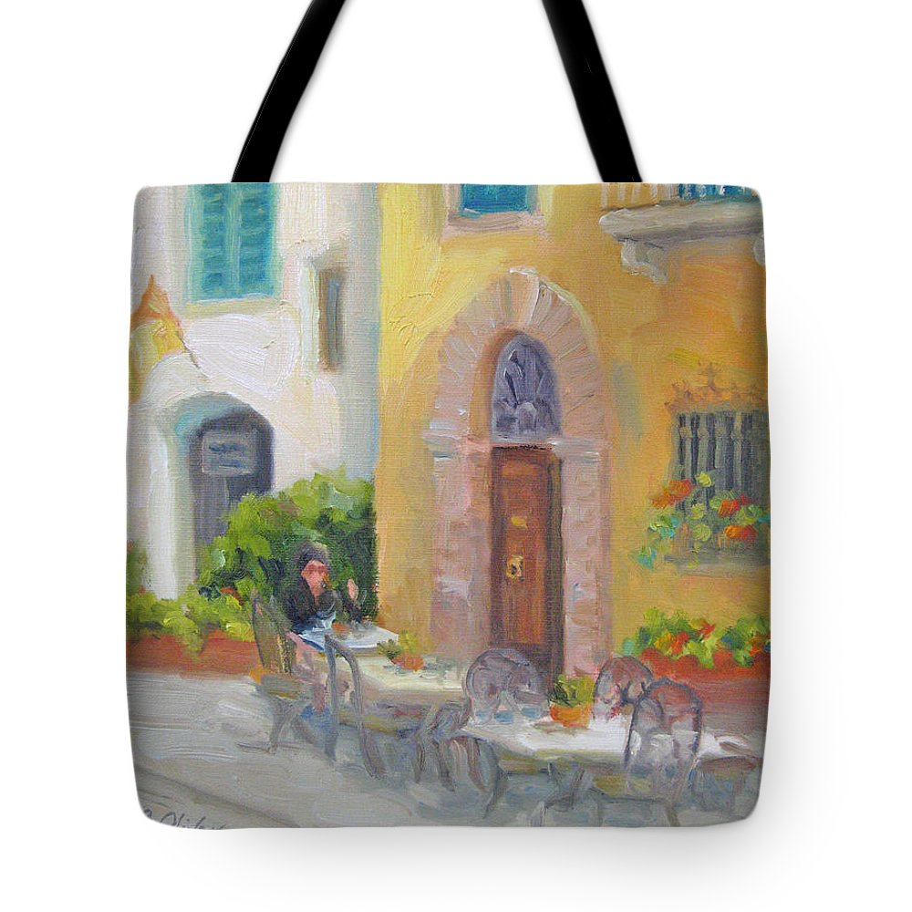 Cafe Tote Bag featuring the painting Morning Cappuccino by Bunny Oliver