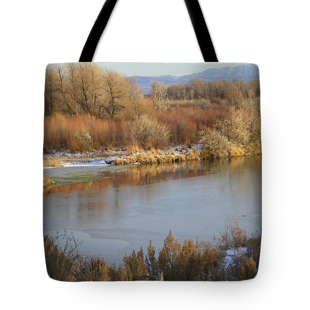 River Tote Bag featuring the photograph Morning Chill by Gale Cochran-Smith