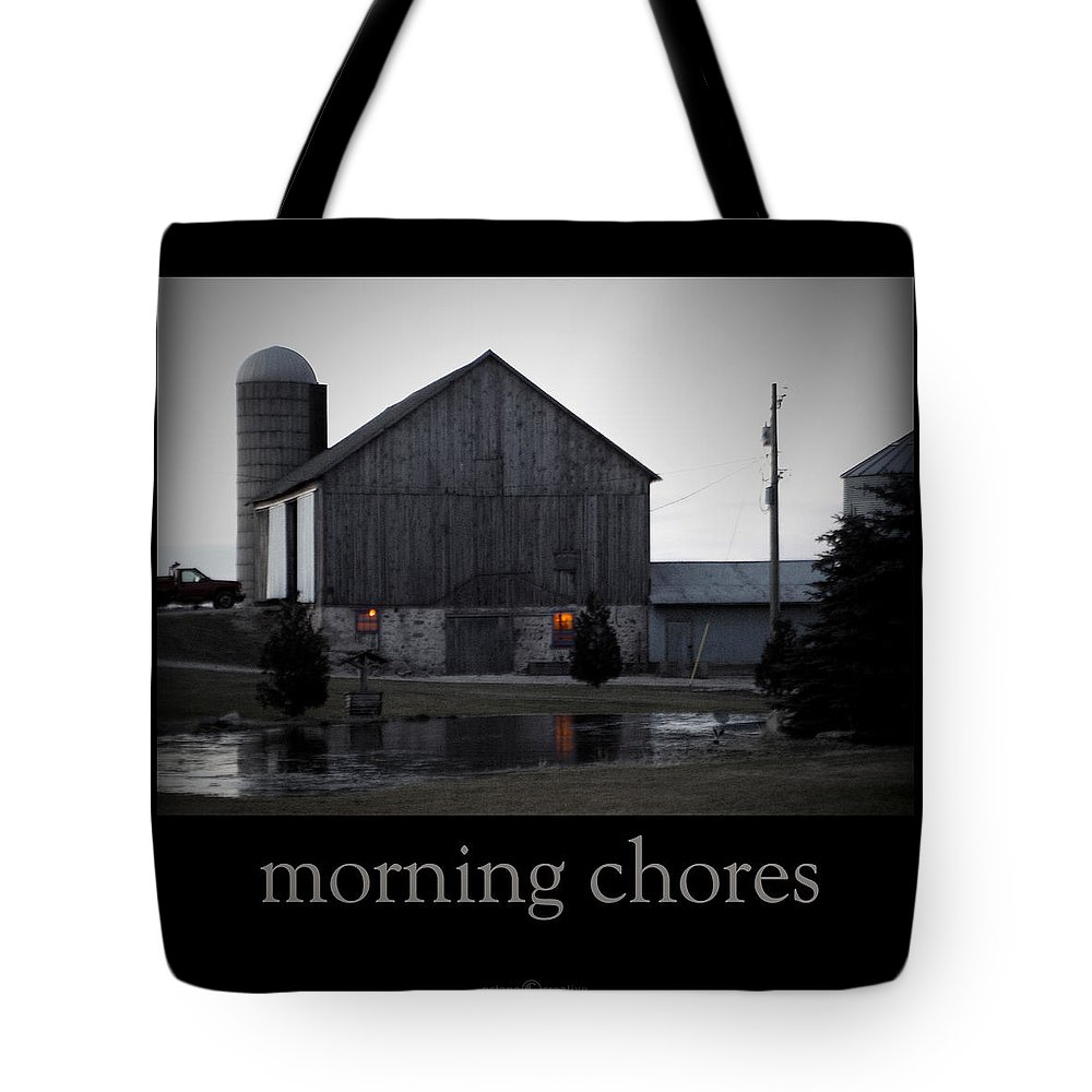Poster Tote Bag featuring the photograph Morning Chores by Tim Nyberg