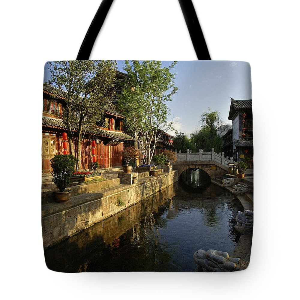 Asia Tote Bag featuring the photograph Morning Comes to Lijiang Ancient Town by Michele Burgess
