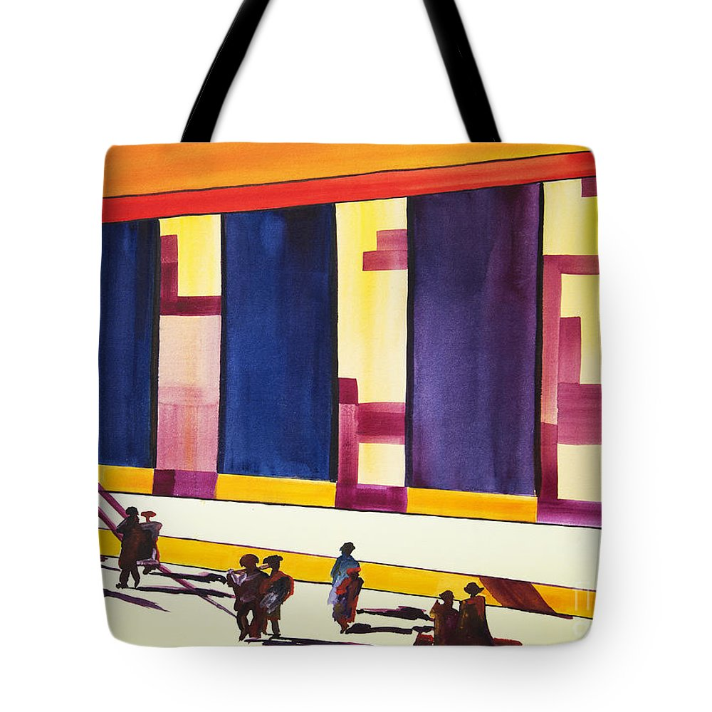 Figures Tote Bag featuring the painting Morning Commute by JoAnn DePolo