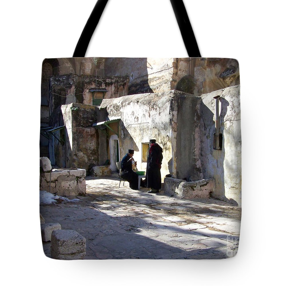 Jerusalem Tote Bag featuring the photograph Morning Conversation by Kathy McClure