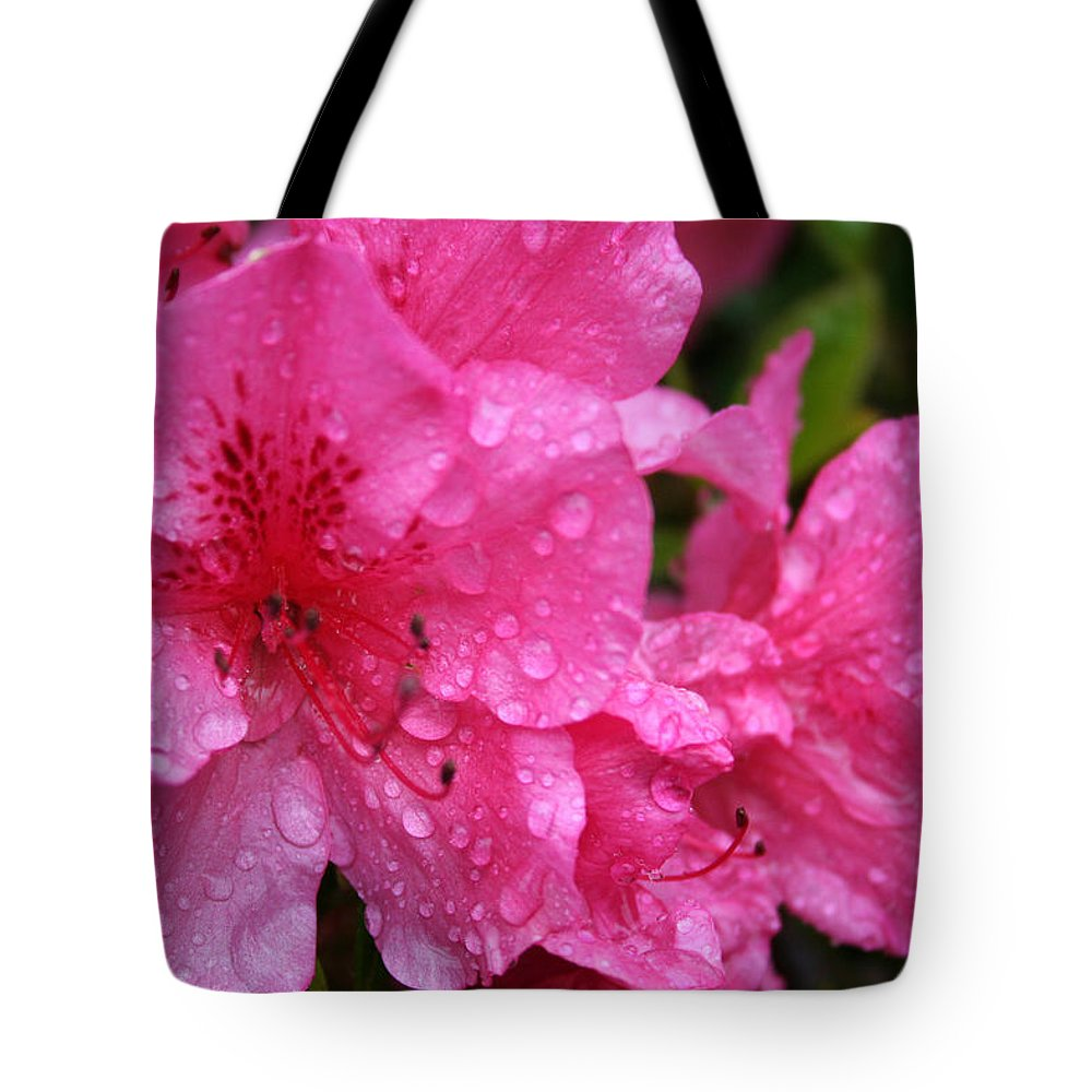 Azaleas Tote Bag featuring the photograph Morning Dew by Mary Gaines