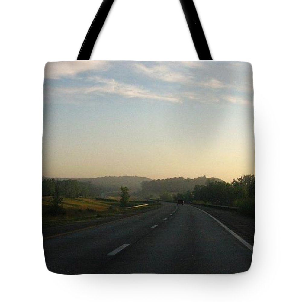 Landscape Tote Bag featuring the photograph Morning Drive by Rhonda Barrett