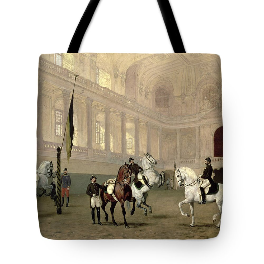 Morning Tote Bag featuring the painting Morning Exercise in the Hofreitschule by Julius von Blaas