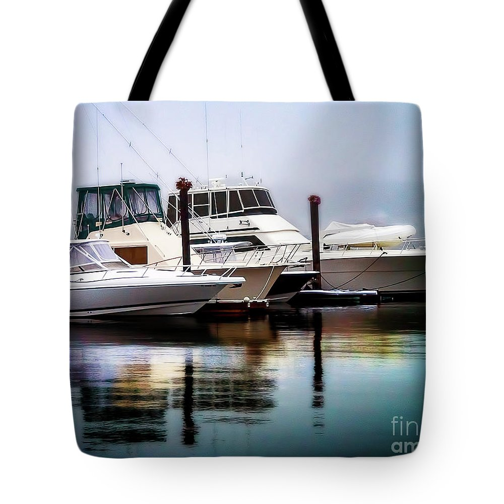 Ship Tote Bag featuring the photograph Morning Fog At Boothbay by Michael Riha