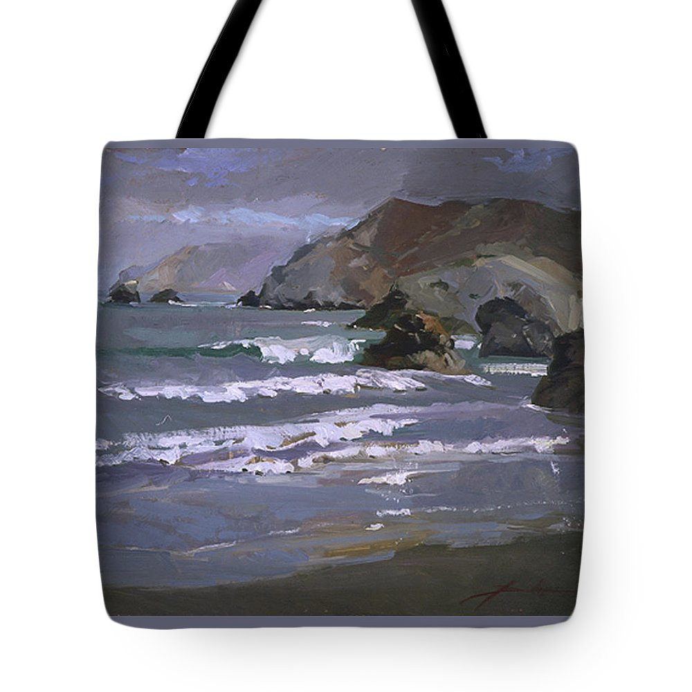 Seascape Tote Bag featuring the painting Morning Fog Shark Harbor - Catalina Island by Betty Jean Billups