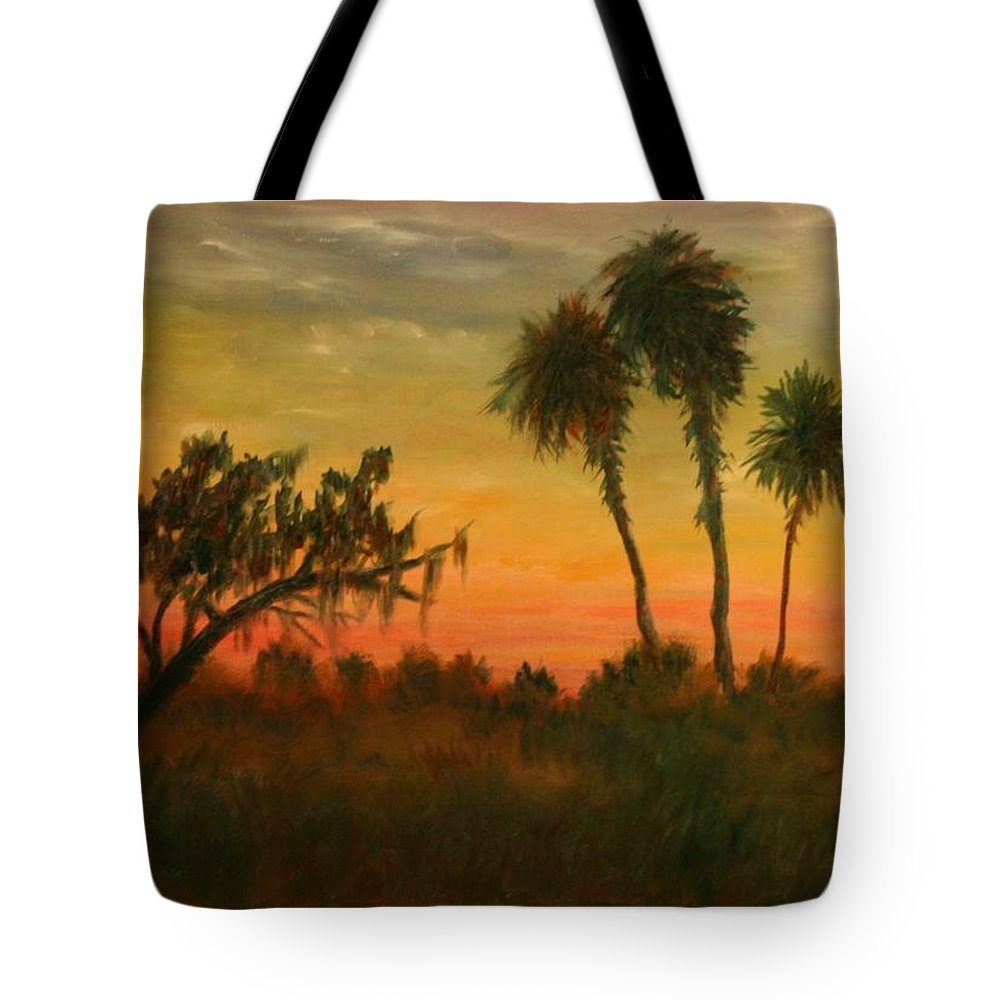 Palm Trees; Tropical; Marsh; Sunrise Tote Bag featuring the painting Morning Fog by Ben Kiger