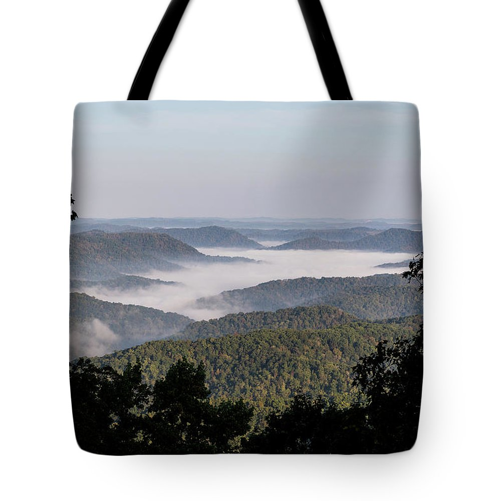 Morning Tote Bag featuring the photograph Morning Fog On Pine Mountain by Cris Ritchie