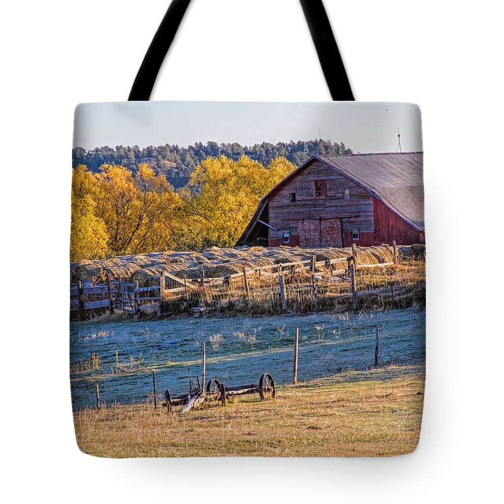 Barn Tote Bag featuring the photograph Morning Frost by Alana Thrower